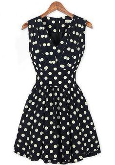 Black Polka Dot Print Ruffle V-neck Chiffon Dress