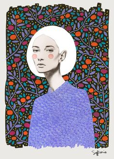 Sofia Bonati creates beautiful portraits of enchanting women with a look of mystery in their eyes. Sofia attributes the development of her style to the likes of Charles Bragg, and takes equal inspiration from the likes of Klimt, Klee and Modigliani / Illustration / Inspiration / Pattern / Ideas / Design / Woman / Fashion / Colorful /