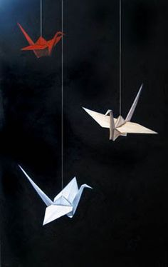 Origami - Three Flies Up by Jeanne Vadeboncoeur