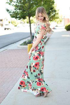 1c5596eae0d Renee Floral Maxi Dress in Mint Womens Boutique Dresses