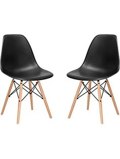 Poly and Bark Eames Style Molded Plastic Dowel-Leg Side Chair, Black, Set of 2 ❤ Edgemod