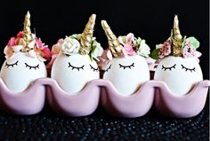 diy unicorn Ostara / Easter eggs A little horn and a few tiny flowers later, you'll have these cute unicorn eggs for Ostara/ Easter. would be great for Ostara Altars or Unicorn Parties