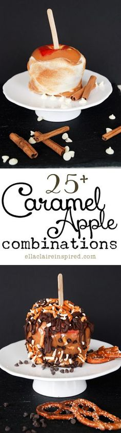 25 Caramel Apple Combinations ~ >Apple Pie Caramel Apple >Cheesecake Caramel Apple >Double Chocolate Caramel Apple >Salted Caramel Apple >Cinnamon Streusel Caramel Apple Links to Making Carmel Tips & Tricks on Making Apples www. Caramel Recipes, Apple Recipes, Fall Recipes, Holiday Recipes, Just Desserts, Delicious Desserts, Dessert Recipes, Baking Desserts, Gourmet Candy Apples