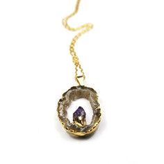 Geode Amethyst Necklace Small, $60, now featured on Fab.