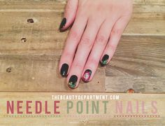 Needlepoint/Cross stitch nail art.