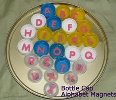 Bottle lid Alphabet magnets