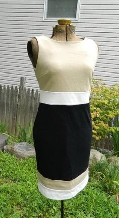 NWT VINCE CAMUTO SIZE 4 KHAKI BLACK WHITE COLORBLOCK SLEEVELESS SHIFT DRESS in Clothing, Shoes & Accessories | eBay