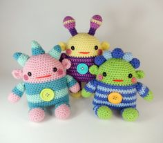 Romper+Monsters+Amigurumi+Crochet+Doll+Pattern+por+mojimojidesign