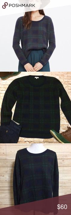 """Madewell Tartan Plaid Sweater Beautiful, warm sweater by Madewell in a classic tartan Plaid print of dark green, navy and brown. NWOT, never worn. Slightly curved hem, perfect with jeans or slacks. Viscose/nylon/wool/alpaca mix. This sweater will never go out of style. Bust: 25"""" across. Length in front 25.5"""". Length in back 27.5"""". Madewell Sweaters Crew & Scoop Necks"""