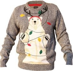 Shineflow Women's Unisex Cute Bear with Reindeer Horn Ugly Christmas Sweater Jumper at Amazon Women's Clothing store: