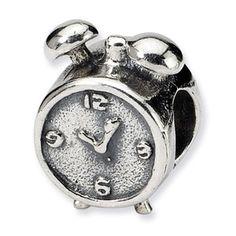 Sterling Silver Alarm Clock Bead Charm For Pandora, Biagi, Chamilia & European Bracelets, Women Jewelry Gifts For Women, Gifts For Her, Fine Jewelry, Women Jewelry, Silver Charm Bracelet, Bead Shop, Gold Beads, Alarm Clock, Pocket Watch