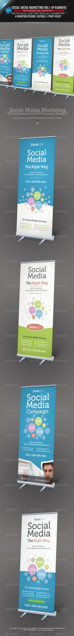 Social Media Marketing Roll-up Banners - the template files can be downloaded here on Graphic River: http://graphicriver.net/item/social-media-marketing-rollup-banners/3907853?r=kinzi21