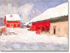 Monet's Red Barns in Norway Holiday Cards