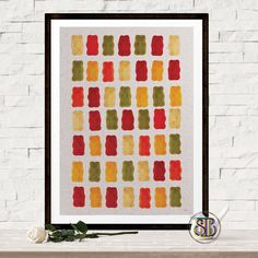 Food Print - Gummy Bear Poster - Kitchen Wall Decor - Pattern Print - Jelly Poster - Gummy Bear Art - Minimal Home Decor - Food Wall Print by Thestrangerboutique on Etsy