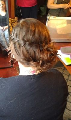 Waterfall braid into a side updo by couturecurls4u.com