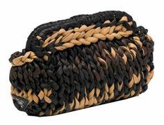 Prada knit leather clutch