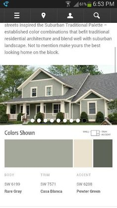 Possible house colors in shades of green from Sherwin Williams paint colors by collection exterior color schemes suburban traditional Exterior Paint Schemes, Paint Color Schemes, Exterior Paint Colors For House, Paint Colors For Home, Exterior Design, Outside House Paint Colors, House Siding Colors, Craftsman Exterior Colors, Green Siding