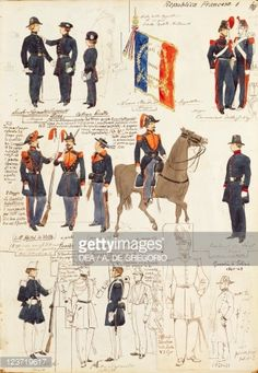 Various uniforms of Republic of France, by Quinto Cenni, color plate