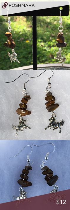 Brown Tigers Eye Silver Bronco Horse Earrings These lovely earrings are made with natural tiger's eye and silver tone horse charms. The hooks are sterling silver plated.   All PeaceFrog jewelry items are handmade by me! Take a look through my boutique for more unique creations. PeaceFrog Jewelry Earrings