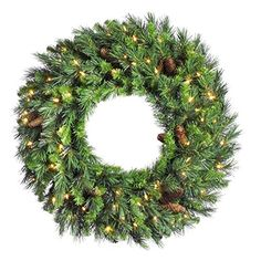 Adorn your home in holiday style with a Vickerman Cheyenne Pine Pre-Lit Wreath with Warm White LED Lights.Hang this beautiful wreath on a wall in any room where you want to bring a cozy Christmas feeling for your family and guests to enjoy. Pre Lit Wreath, Christmas Wreaths With Lights, Lighted Wreaths, Artificial Christmas Wreaths, Christmas Decorations, Holiday Wreaths, Christmas Feeling, Christmas Store, Cozy Christmas
