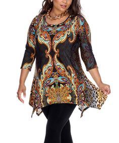 Another great find on #zulily! Brown Abstract Handkerchief Tunic - Plus #zulilyfinds