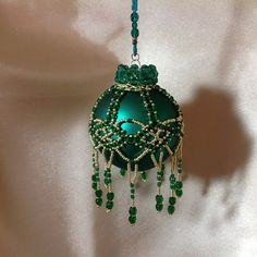 Beaded Christmas ornament cover in green and by ElegantPerle