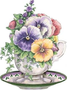 "Photo from album ""Art Flowers"" on - Blumen Art Floral, Vintage Diy, Vintage Cards, Vintage Images, Tee Kunst, Watercolor Flowers, Watercolor Paintings, Graffiti Kunst, Illustration Blume"