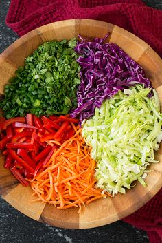 Thai Slaw with Peanut Dressing - Cooking Classy Cucumber Recipes, Slaw Recipes, Healthy Salad Recipes, Raw Food Recipes, Vegetarian Recipes, Cooking Recipes, Cucumber Salad, Asian Slaw, Health Dinner