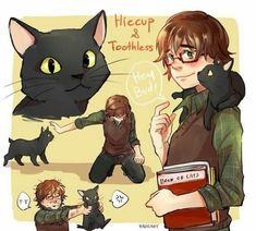 """Hiccup has a cat he rescued, a stray from car accident that made this cat lost a tail, and names him """"Toothless"""" because he has only one tooth. Hiccup keeps Toothless from father- he hates cats. Astrid Hiccup, Hiccup And Toothless, Httyd, Hiccup Jack, Jack Frost, Disney Crossovers, Disney Memes, Cute Disney, Disney Art"""