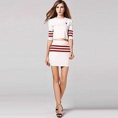 Women's New Fashion Stripe Knitwear Suit(skirt&shirt) – EUR € 15.98