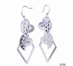 $3.97 Heart Rhomboid Shaped Jewelry Dangle Hook 925 Sterling Silver Earrings