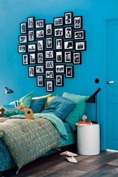 35 Cool Headboard Ideas To Improve Your Bedroom Design~love the colors and picture heart idea! 35 Cool Headboard Ideas To Improve Your Bedroom Design~love the colors and picture heart idea!