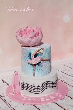 hand painted cake for ballerina - Cake by Tera cakes Ballet Birthday Cakes, Ballet Cakes, 13 Birthday Cake, Ballerina Birthday Parties, Ballerina Cakes, Cakes For Teenagers, Dance Cakes, Hand Painted Cakes, Holiday Cakes