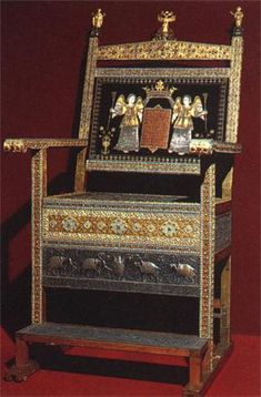"The ""Diamond Throne"" was made by Persian makers in 1659 and presented to Tsar Alexis Mikhailovich by merchant Zakharia Saradarov from the Armenian Trade Company in Persia.  For the prevalence of diamonds (more than 800 in all) the throne was named ""Diamond Throne"".  The precious donation was attached to the petition of tax-free trading in the Russian territory. The merchants got 4000 silver rubles and 19000 copper rubles for the throne.  Height: 161 cm; Width: 75.5 cm; and Length: 51 cm."