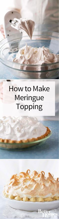 Want to know if there's a way to prevent meringue pie topping from weeping? We've got five tips to help you make the ultimate meringue pie. Meringue Pie Topping Recipe, Best Meringue Recipe, Cupcakes, Cupcake Cakes, Pavlova Meringue, Pie Dessert, Dessert Recipes, How To Make Meringue, Pie Tops