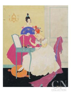Published November 15, 1915  Interior scene: two models around a green vanity with mirror and candles. On the right, woman sitting on a chair with feet resting on an orange cushion, wearing a white ruffled gown trimmed with roses a neckline, holding a pearl necklace. On the left, woman standing in a fuschia gown holding a blue fan..