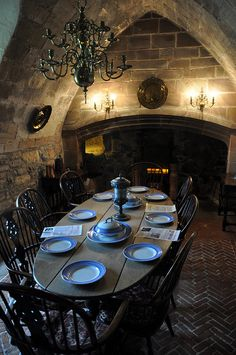 The dining room in Lindisfarne Castle, Holy Island, Northumberland
