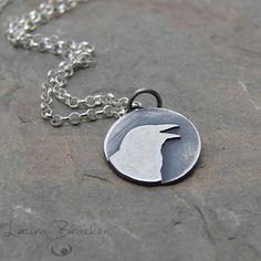 Bracken Designs - Sterling Silver Raven Pendant Necklace Handmade #etsymetalteam