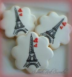 Las cookies de París - Eiffel torre cookies - 1 docena - día de San Valentín