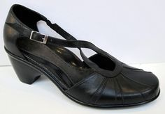 Dansko 'Regina' Black Leather Cross Strap Pump Size 38/US 7.5-8 #Dansko #AnkleStrap