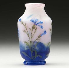 DAUM vase acid-etched and enameled with strong blue cornflower