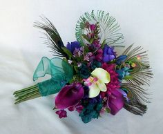 Teal Peacock feather Bridal Bouquet Brides maids artificial wedding flowers purple, Raspberry, pink bokay package custom for Terianna