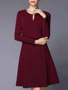 Shop Midi Dresses - Wine Red Long Sleeve A-line Midi Dress online. Discover unique designers fashion at StyleWe.com.