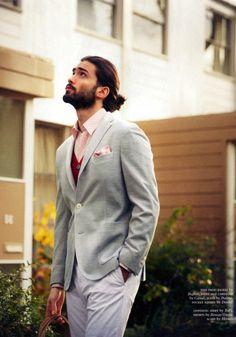 Devran Taskesen. The colors he's wearing would be so pretty for a wedding! Dress well, grooms! #beard #dapper