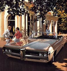 """1968 Pontiac Bonneville Brougham Convertible - 'Love All': Art Fitzpatrick and Van Kaufman - """"I really did this as an exercise in making a white car look shiny,"""" Fitzpatrick says. """"In the sun, a white car is a white blob. In shadow or shade, you get reflections, and that's what makes a car look shiny. I left just enough sun on it to make it white, not gray."""""""