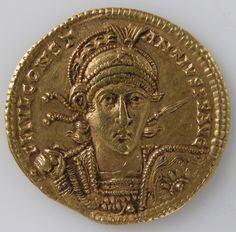 Gold Solidus of Constantine II. Byzantine coin struck in Rome, probably in the year 353 by Constantius II, one of the four sons of Constantine the Great.
