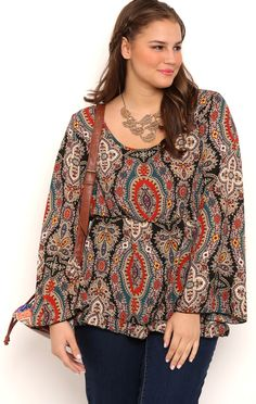 Plus Size Paisley Medallion Print Tunic Top with Ruffle Hem