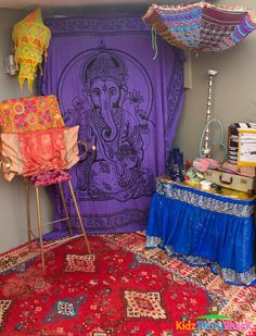 Colorful decor at a Bollywood party! See more party ideas at CatchMyParty.com!  #partyideas #bollywood