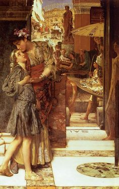 """""""The Parting Kiss"""", 1882, by Sir Lawrence Alma-Tadema (Dutch, 1836-1912)."""
