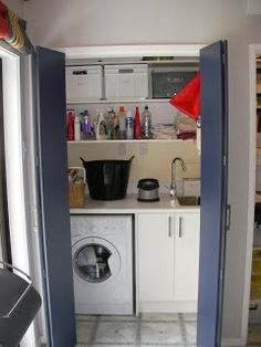 Cupboard laundry for small house Laundry Cupboard, Utility Cupboard, Laundry Doors, Laundry Storage, Cupboard Storage, Hidden Laundry, Small Laundry Rooms, Laundry In Bathroom, Small Bathroom